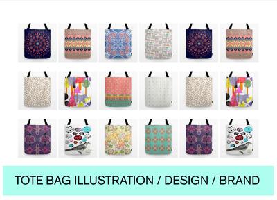 Design a bespoke Tote bag illustration, pattern or image for your business