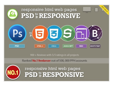 Psd to responsive HTML5 +CSS3,Bootstrap,Incl. JS- From No.1 Dev
