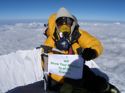 Show your message top of the everest Mountain