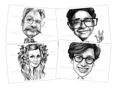 Draw a personalized black&white  caricature from your photo