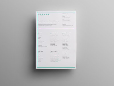 design single page resume cv based on a simple, modern, elegant, minimal, clean style