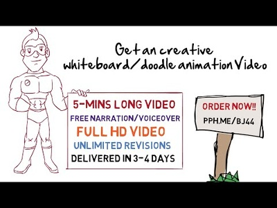 Creative 2D/whiteboard/doodle animation with narration upto 5min