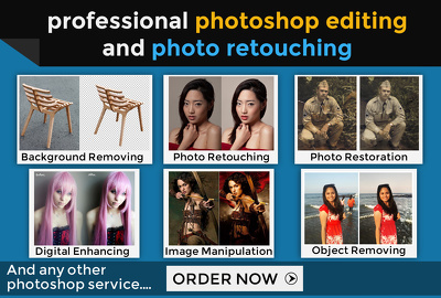 Professionally do any Photoshop editing work (image editing, photo retouching + MORE)