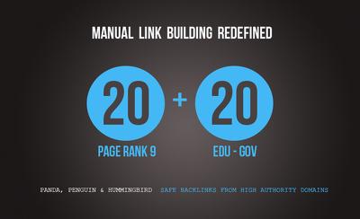 Manually create 20 EDU/GOV links + 20 PR9 links BONUS FREE!!