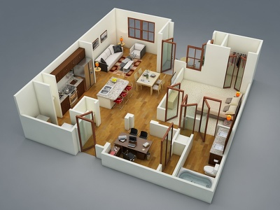 Creates 3d floor plan or model sketchup or create one 3d game model