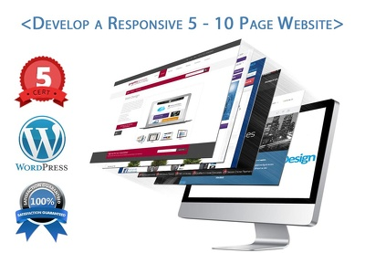 Install Wordpress & develop a responsive 5-10 paged Website