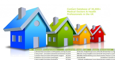Provide Contact Database of 30,000+ medical doctors & specialists   in UK