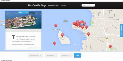 Create a travel website based on an interactive map with popups