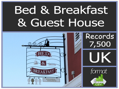 Send you UK 7500 plus bed & breakfasts & Guest Houses contact list includes email