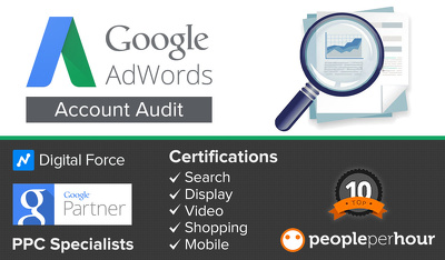 Adwords Audit PPC- Certified in all 5 Google Adwords Partner Qualifications