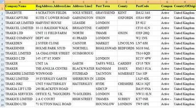 Provide 25K mailing address of UK based Businesses