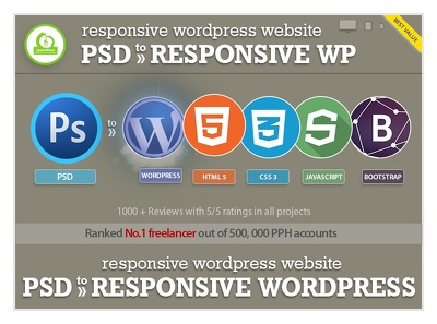 Psd to  fully featured responsive Wordpress