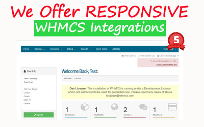 Seamless  Responsive Whmcs integration service to match the rest of your website.