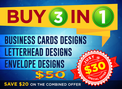 Design business card + letterhead + envelope just @ $30  *SAVE $20 @ the combo*