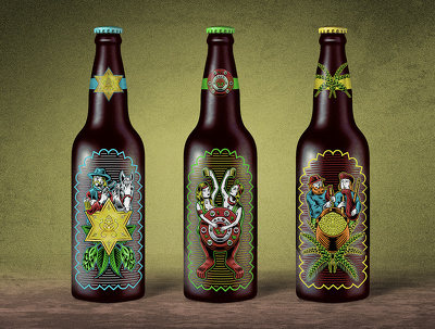 Create an illustrated bottle label design