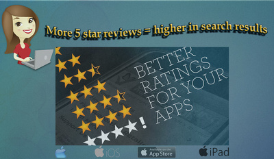Give 5 reviews with 5 star rating for your iOS free App