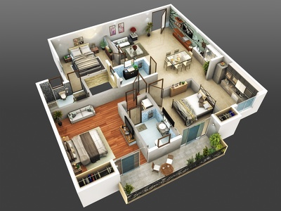 Convert your 2D floor plan into realistic perspective 3D floor plan at LOWEST rate