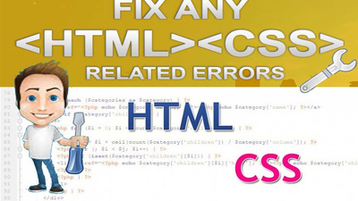 Fix any kind of html, css, responsive errors, bug, issue within 24hr