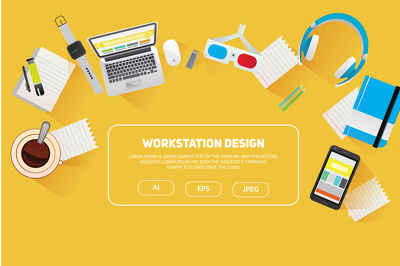 Flat workstation design in illustration