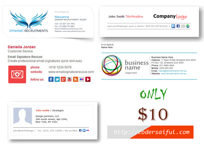 Email Signature within 1 day for $10 dollars only