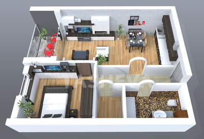 Turn your 2D drawings into photorealistic 3D floor plan - top or perspective view