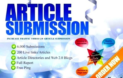 Submit your 2 articles  to 6000 Article Submission Directories and Blogs