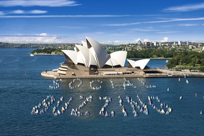 See your message next to the Sydney Harbour Bridge created with small boats