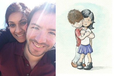 Make a cute watercolor painting based on your picture