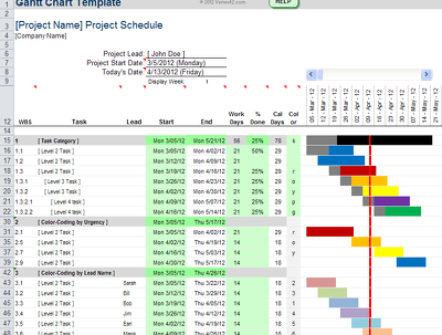 produce an Excel based Gantt Chart