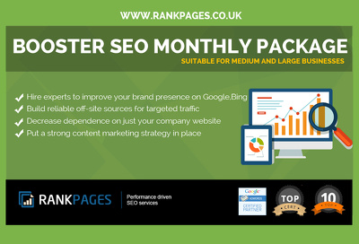 Booster SEO Monthly package for medium & large businesses -1st Page Google Guarantee