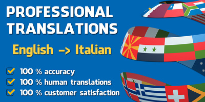 Professionaly translate up to 500 words from English to Italian