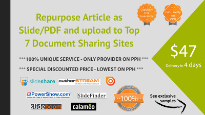 Convert Article as branded Slide/PDF and upload to Top 7 Document Sharing Sites