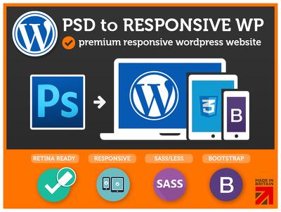 PSD to Wordpress Theme (Responsive / Bootstrap / Retina / SASS) -UK Expert-