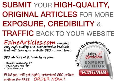 Will write Top Quality Ezine article (Ezinearticles.com  - DA 87 - PA 90 - TF 73)