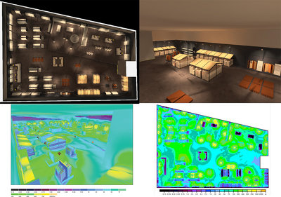 Lighting calculations in DIALux EVO/ AGI 32/ 3ds Max (layouts, renders, diagrams)