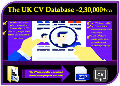 Provide UK CV database -2,30,000 CVs in word format