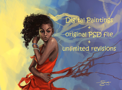 Create Digital Paintings free original PSD file and unlimited revisions