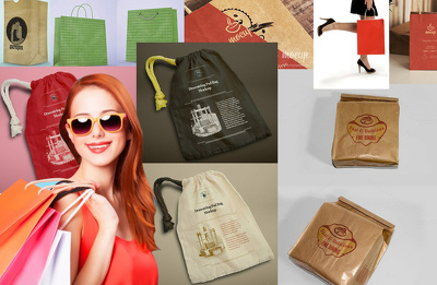 Create shopping Bag Mock-up and Paper Bags Mock-up Set