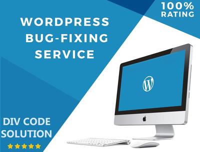 Fix any 1 wordpress issues , wordpress errors , wordpress bug or wordpress problem