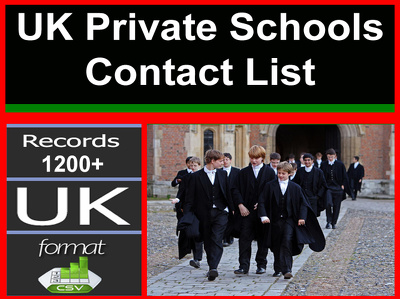 Provide you current high Quality 1200 plus UK Private Schools contact database