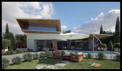 "Exterior House modeling and Renderings fully ""furnished"" with plants, trees, cars etc"
