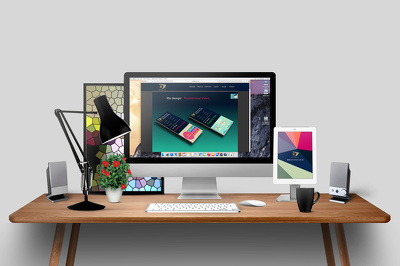 Design 1 Elegant Desktop Mockup for Your Home Page