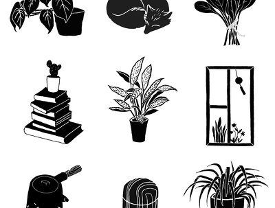 Create a set of 10 hand drawn icons in B & W for your website or blog