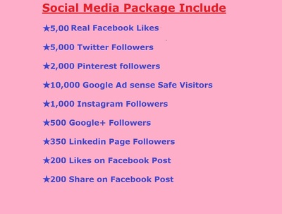 Provide you Social Media promotion package to increase your Social visibilty