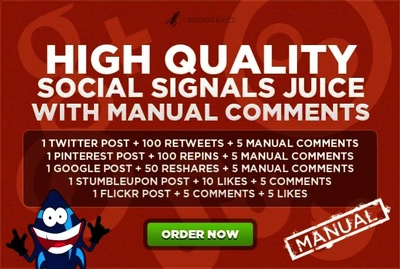 Provide social signals with 25 manual comments