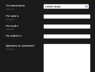 Deliver contact form for website