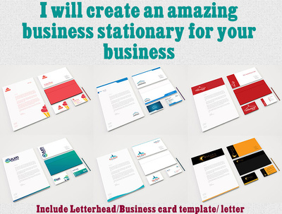 Design your awesome stationary including Business card, Letterhead, and letter
