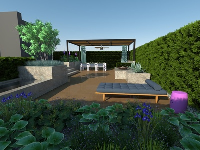 Garden design concept in 2D drawing or 3D visualization