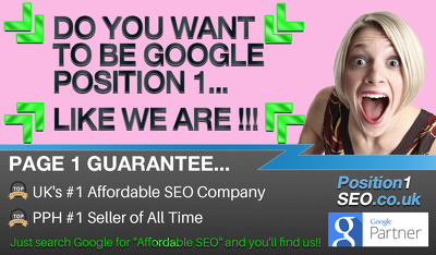 SEO ***Google Page 1 Guarantee*** - White Hat SEO -UKs #1 SEO Company - 1 Phase of 12