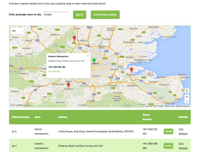 Integrate Google Maps with Store Locator to your website